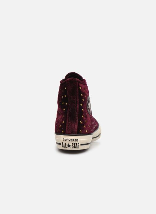 Trainers Converse Chuck Taylor All Star Velvet Studs Hi Burgundy view from the right