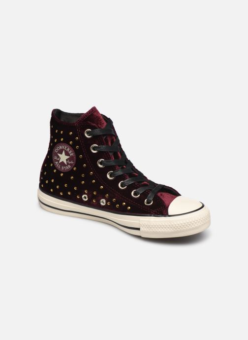 Trainers Converse Chuck Taylor All Star Velvet Studs Hi Burgundy detailed view/ Pair view