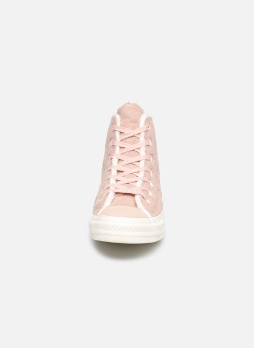 Baskets Converse Chuck Taylor All Star Wool Hi Rose vue portées chaussures