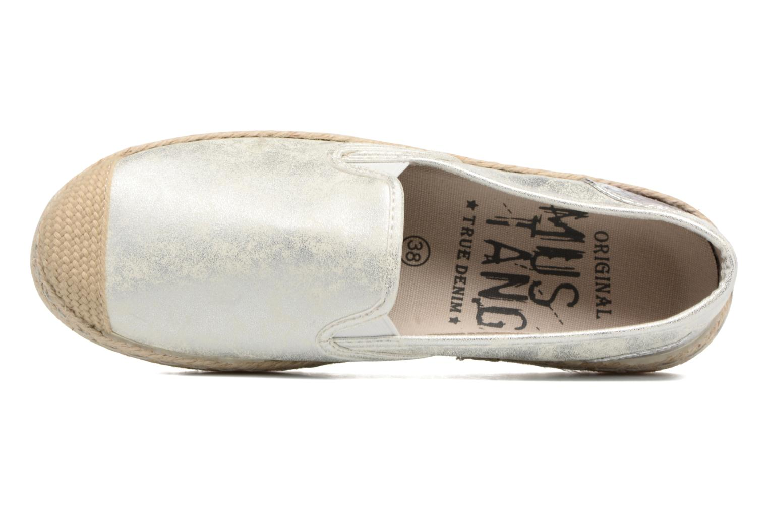 Espadrilles Mustang shoes Mocca Silver view from the left