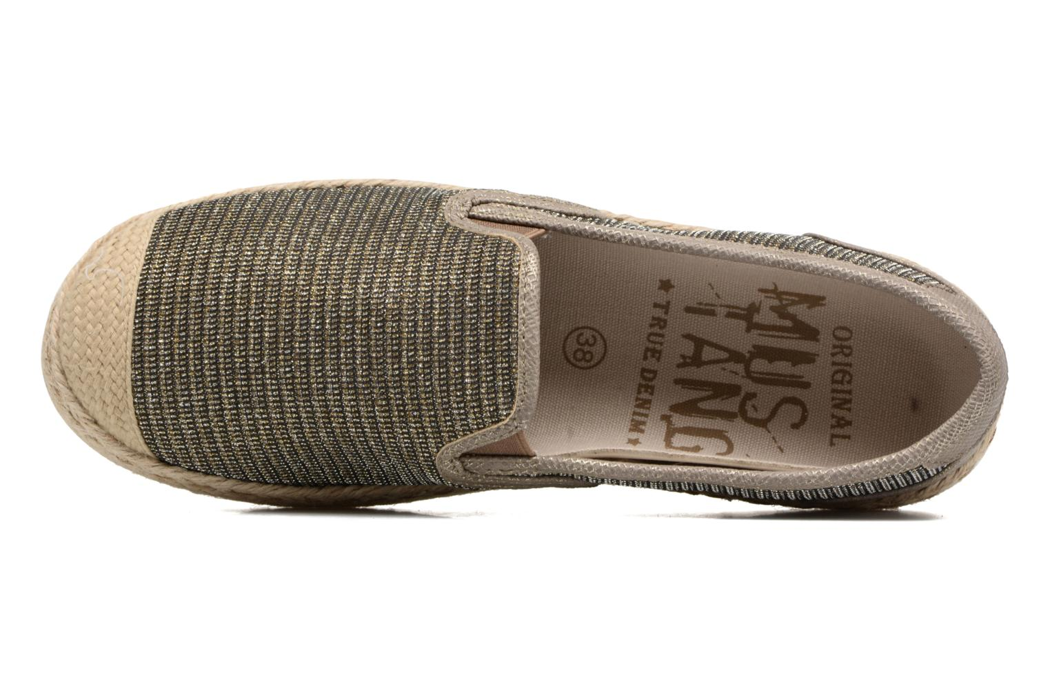 Espadrilles Mustang shoes Mocca Bronze and Gold view from the left