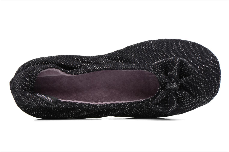 Chaussons Isotoner Ballerine jersey lurex grand nœud F Noir vue gauche