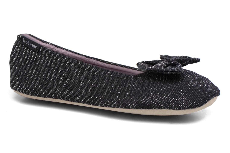 Chaussons Isotoner Ballerine jersey lurex grand nœud F Noir vue détail/paire