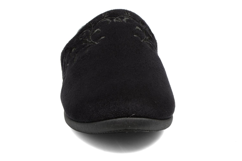 Pantuflas Isotoner Mule talon suédine Negro vista del modelo