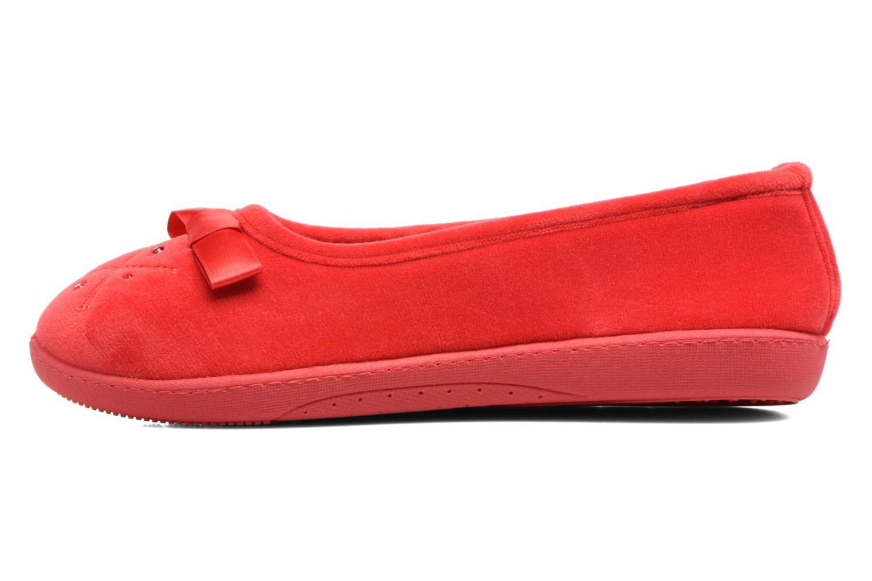 Pantuflas Isotoner Ballerine ergonomique micro velours Rojo vista de frente