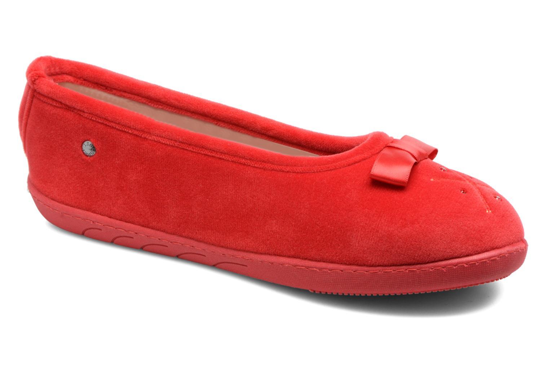 Pantuflas Isotoner Ballerine ergonomique micro velours Rojo vista de detalle / par