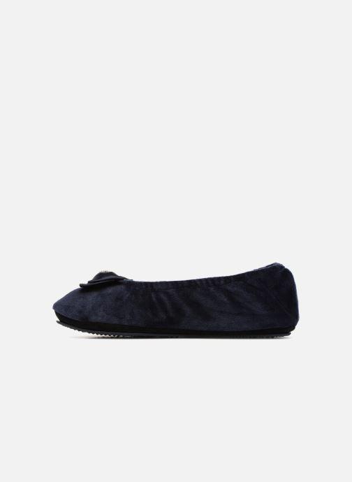 Slippers Isotoner Ballerine micro velours bijoux Blue front view