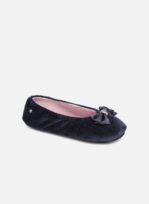 Chaussons Isotoner Ballerine micro velours bijoux Bleu vue détail/paire
