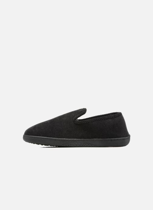 Slippers Isotoner Charentaise ergonomique velours côtelé Black front view
