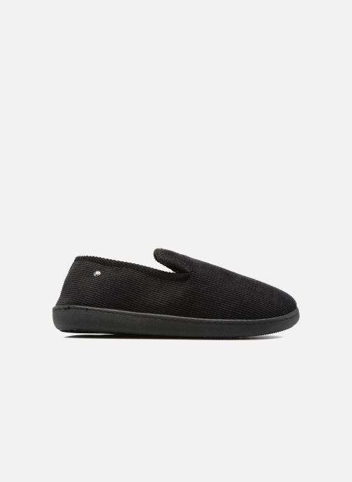 Slippers Isotoner Charentaise ergonomique velours côtelé Black back view