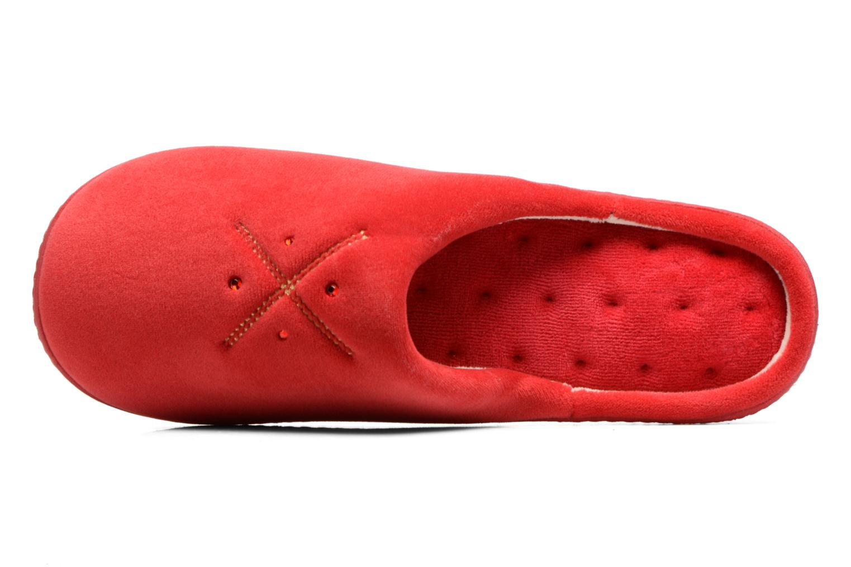 Chaussons Isotoner Mule ergonomique micro velours Rouge vue gauche