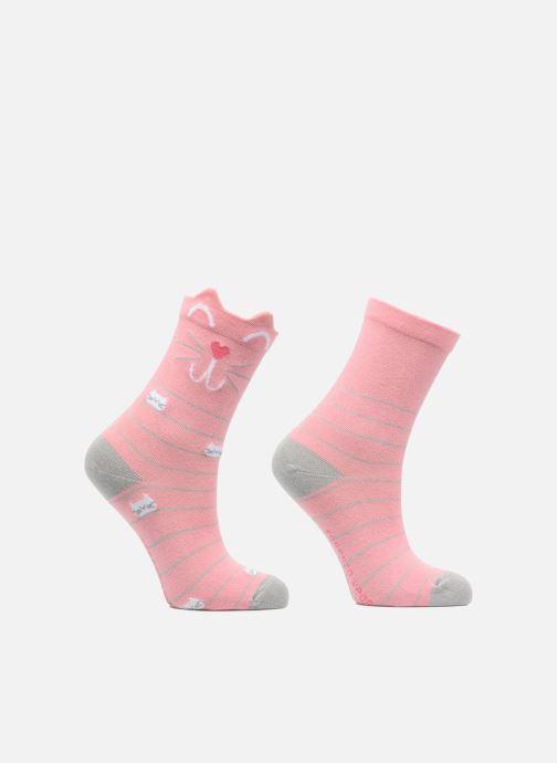 Socken & Strumpfhosen Sarenza Wear Chaussettes Fille Chat Pack de 2 coton rosa detaillierte ansicht/modell