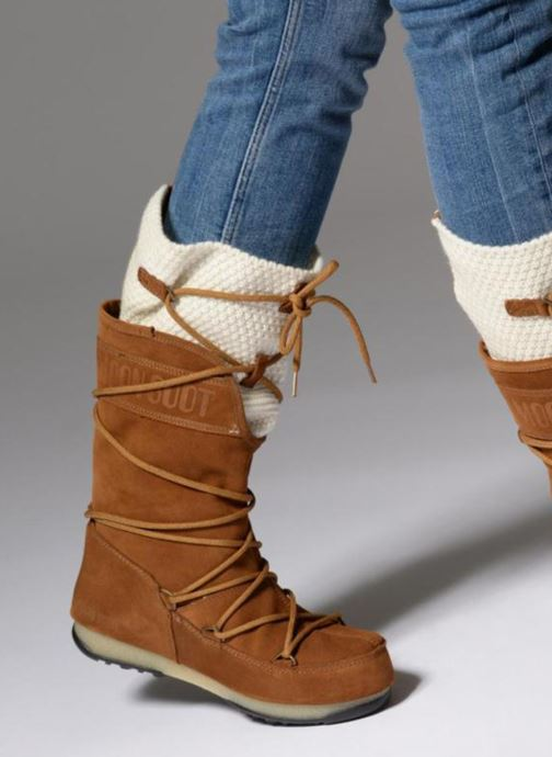 Sport shoes Moon Boot anversa wool Brown view from underneath / model view