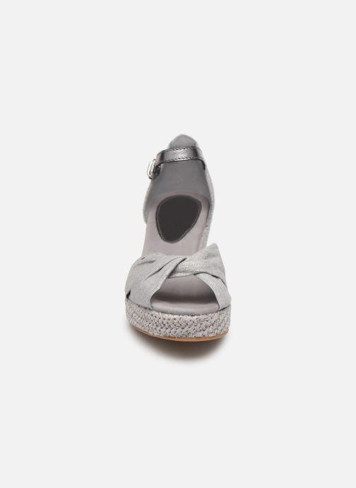 Espadrilles Tommy Hilfiger ICONIC ELBA METALLIC CANVAS Gris vue portées chaussures