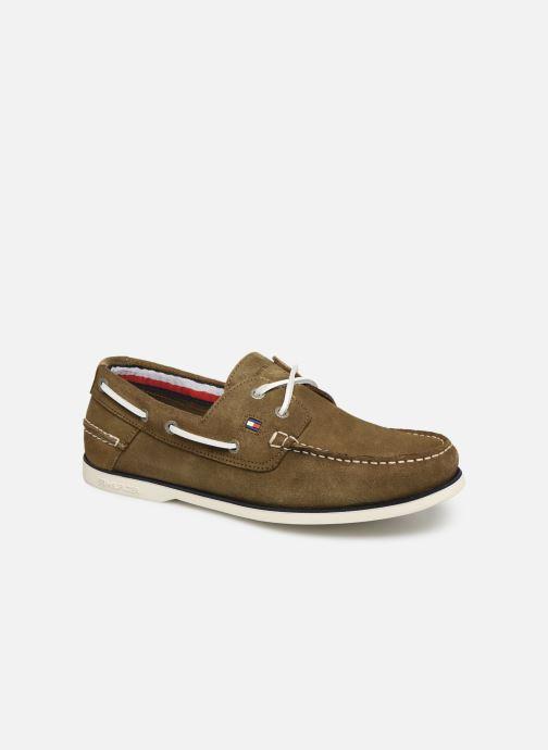 Chaussures à lacets Tommy Hilfiger Classic suede boatshoe Vert vue détail/paire