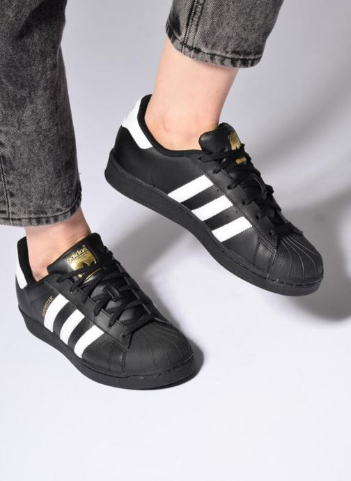 Trainers adidas originals Adidas Superstar Foundation W Black view from underneath / model view