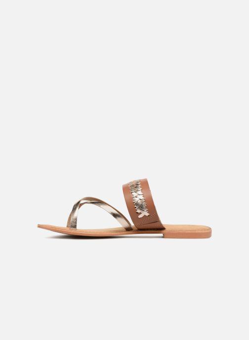 Sandalen Vero Moda Timo leather sandal Bruin voorkant