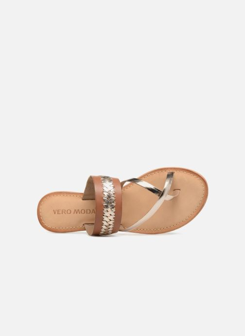 Sandalen Vero Moda Timo leather sandal Bruin links