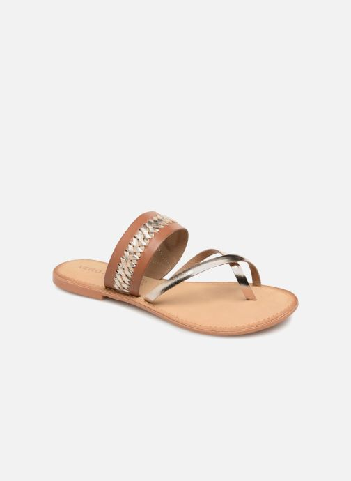 Sandals Vero Moda Timo leather sandal Brown detailed view/ Pair view