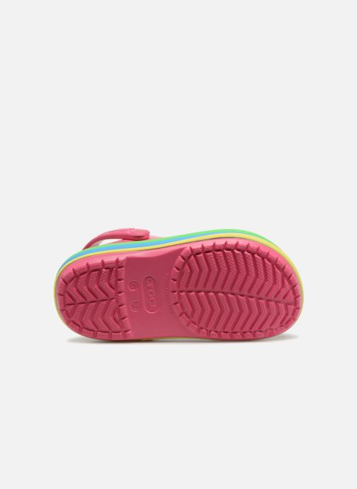 Sandals Crocs CB Rainbow Band Clog Kids Pink view from above