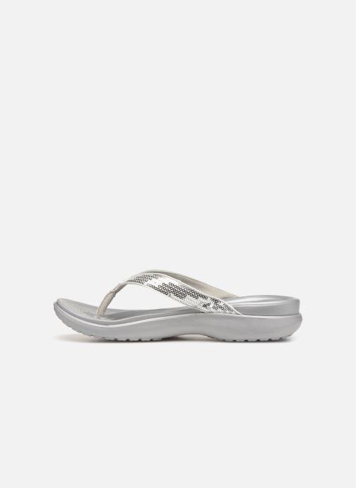 Zehensandalen Crocs Capri V Sequin W grau ansicht von vorne