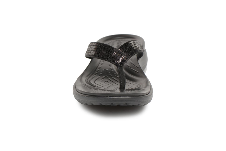 Tongs Crocs Capri V Sequin W Noir vue portées chaussures