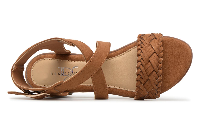 Sandales et nu-pieds Divine Factory Marine Marron vue gauche