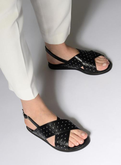 Sandales et nu-pieds Divine Factory Léna Noir vue bas / vue portée sac