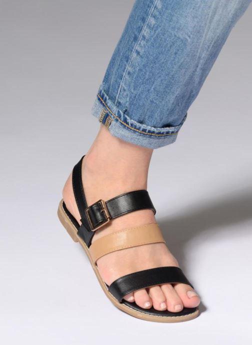 Sandales et nu-pieds Divine Factory Decorbe Noir vue bas / vue portée sac