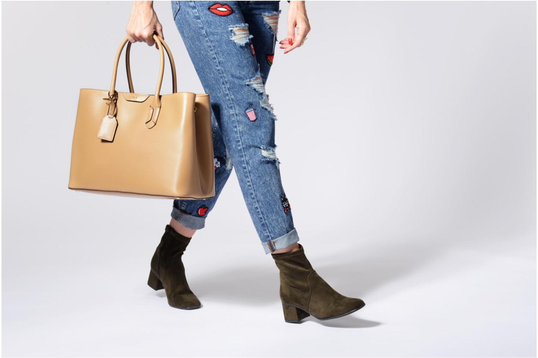 Handtassen Lauren by Ralph Lauren City Tote Tote Embossed Leather Bruin boven