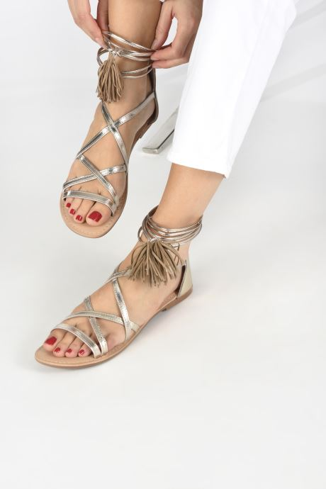 Sandals I Love Shoes Kemila Leather Bronze and Gold view from underneath / model view