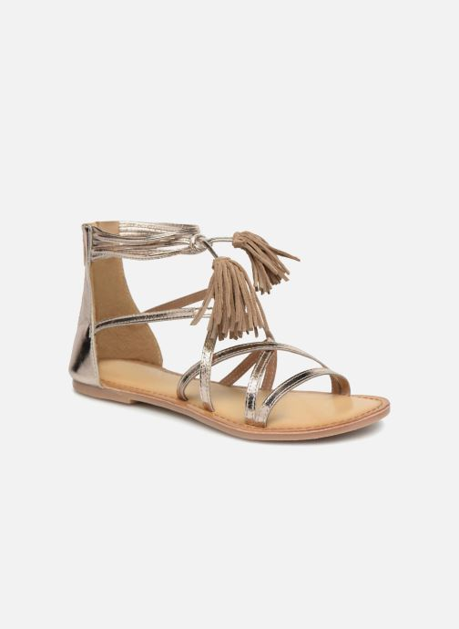 Sandals I Love Shoes Kemila Leather Bronze and Gold detailed view/ Pair view