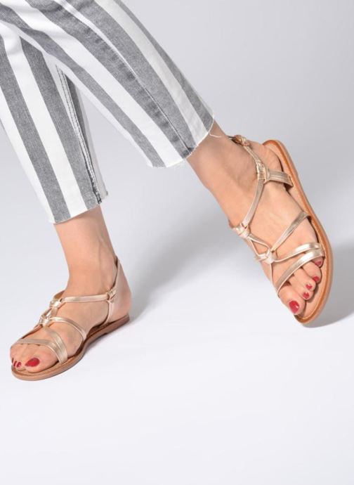 Sandals I Love Shoes Kenania Leather Bronze and Gold view from underneath / model view