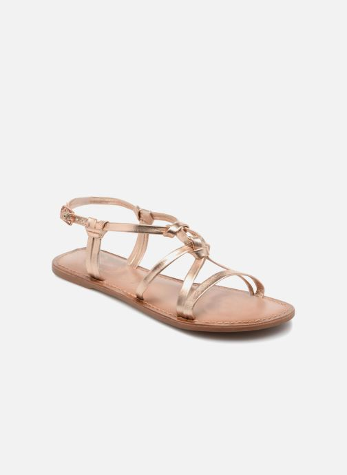 Sandals I Love Shoes Kenania Leather Bronze and Gold detailed view/ Pair view