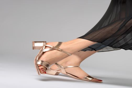 Sandals I Love Shoes Kenania Leather Brown view from underneath / model view