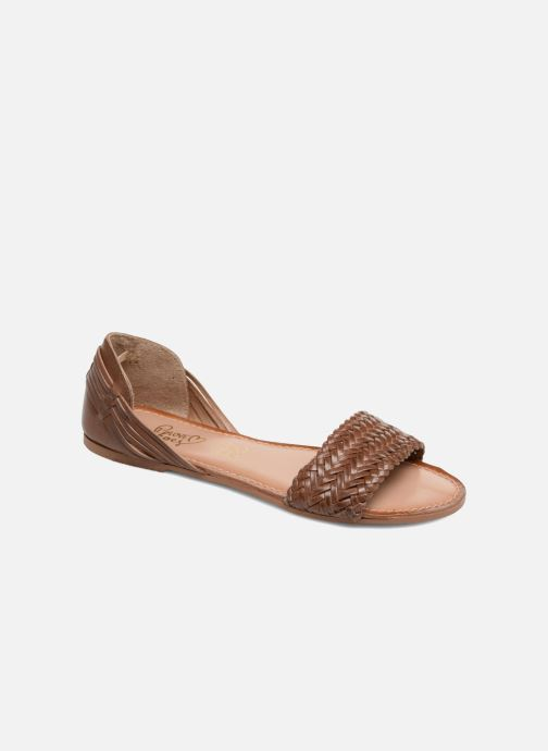 Sandals I Love Shoes Kerina Leather Brown detailed view/ Pair view