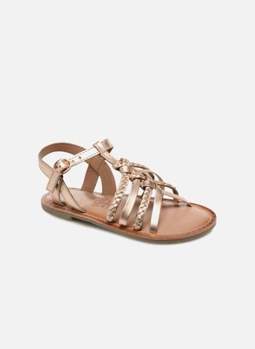 Sandals I Love Shoes Keliana Leather Bronze and Gold detailed view/ Pair view