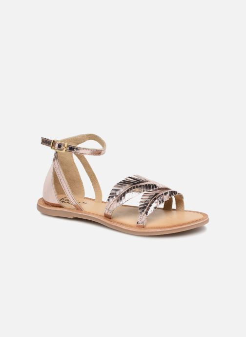 Sandals I Love Shoes Kefeuille Leather Bronze and Gold detailed view/ Pair view