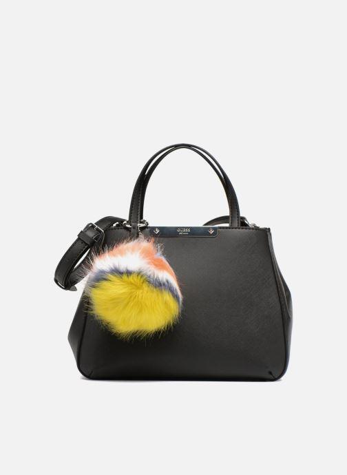 Guess Britta Small Society Satchel Pompom Handbags in Black