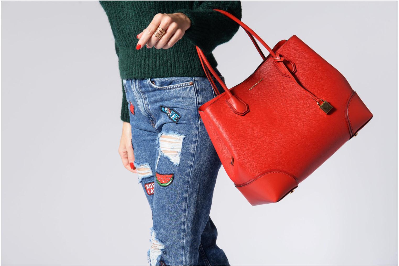 Bolsos de mano Michael Michael Kors Cabas Mercer Gallery LG CENTER ZIP TOTE Rojo vista de arriba