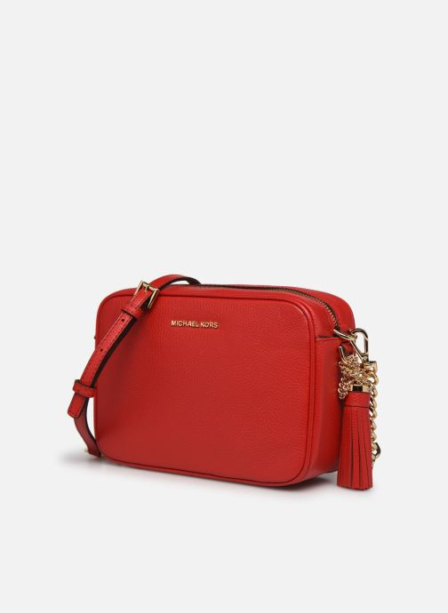 Borse Michael Michael Kors JET SET MD CAMERA BAG Rosso modello indossato