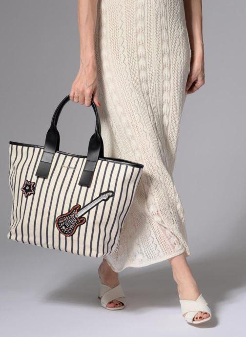 Borse Karl Lagerfeld K Klassic Sparkle Shopper Rayures Bianco immagine dal basso