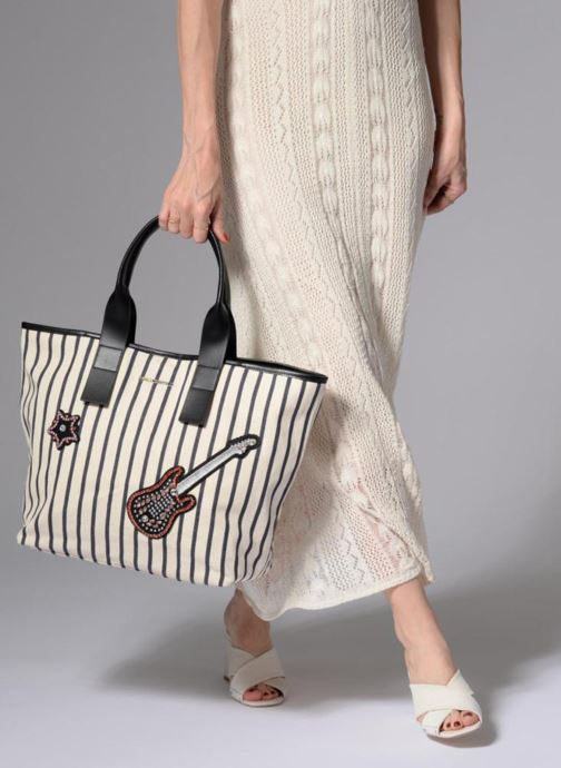 Sacs à main Karl Lagerfeld K Klassic Sparkle Shopper Rayures Blanc vue bas / vue portée sac