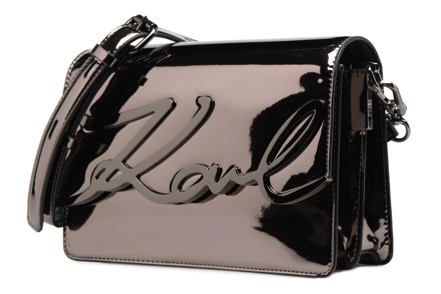 K A975 NICKEL Metallic Shoulder LAGERFELD Signature Bag Gloss KARL wnUZq5Pzw