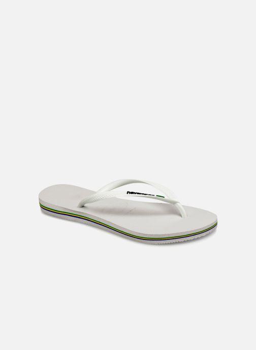 Tongs Havaianas Slim Brasil Logo Blanc vue détail/paire