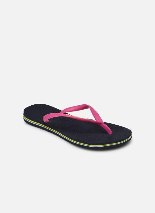 Tongs Havaianas Slim Brasil Logo Bleu vue portées chaussures