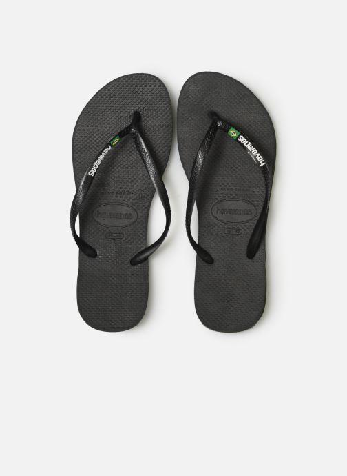 Tongs Havaianas Slim Brasil Logo Noir vue portées chaussures