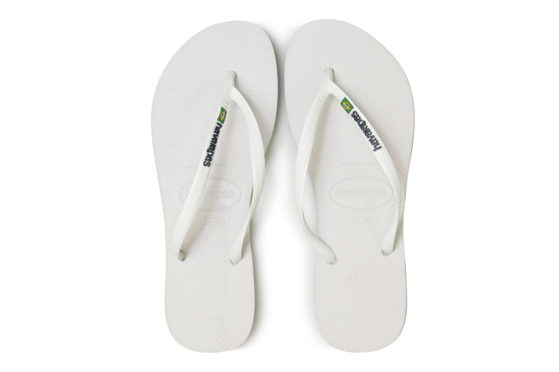 Tongs Havaianas Slim Brasil Logo Blanc vue portées chaussures