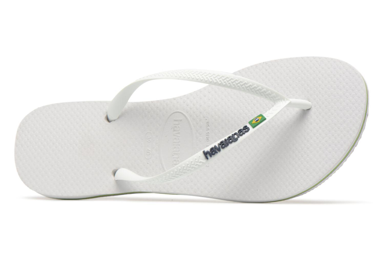 Tongs Havaianas Slim Brasil Logo Blanc vue gauche
