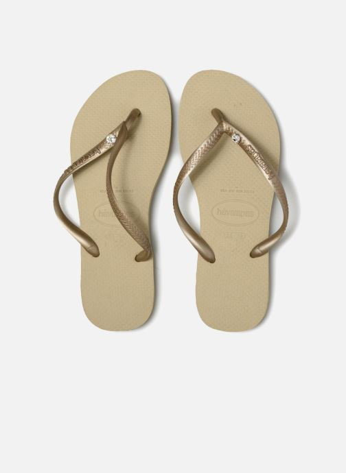 Tongs Havaianas Slim Crystal Glamour SW Or et bronze vue portées chaussures